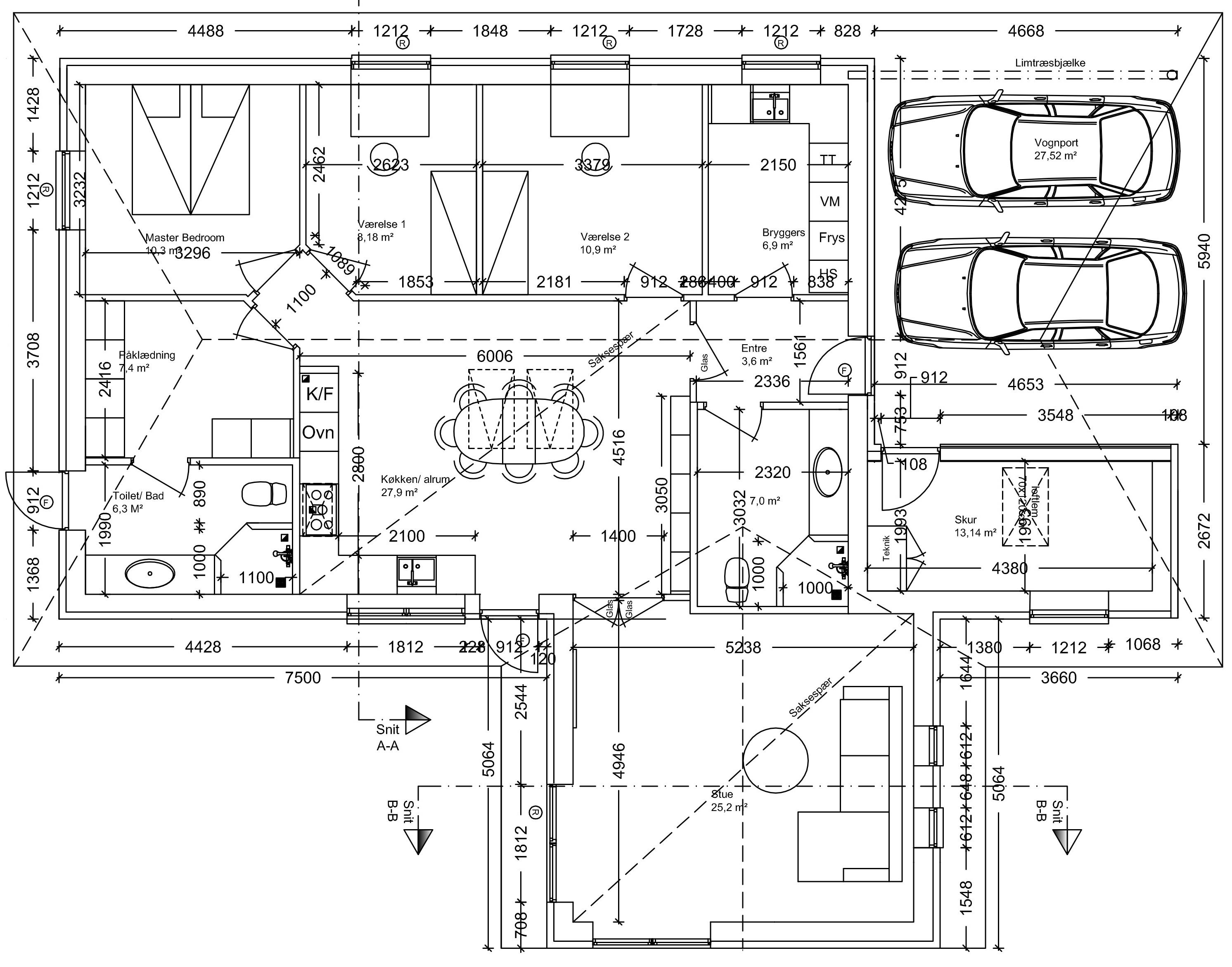 Plantegning af Design 134-23   134,3 m2